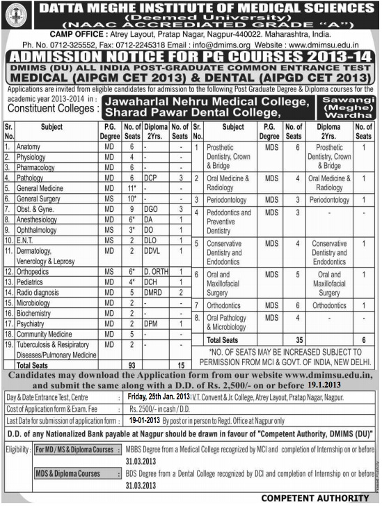 Datta Meghe Institute of Medical Sciences Entrance Exam on 25 Jan 2013