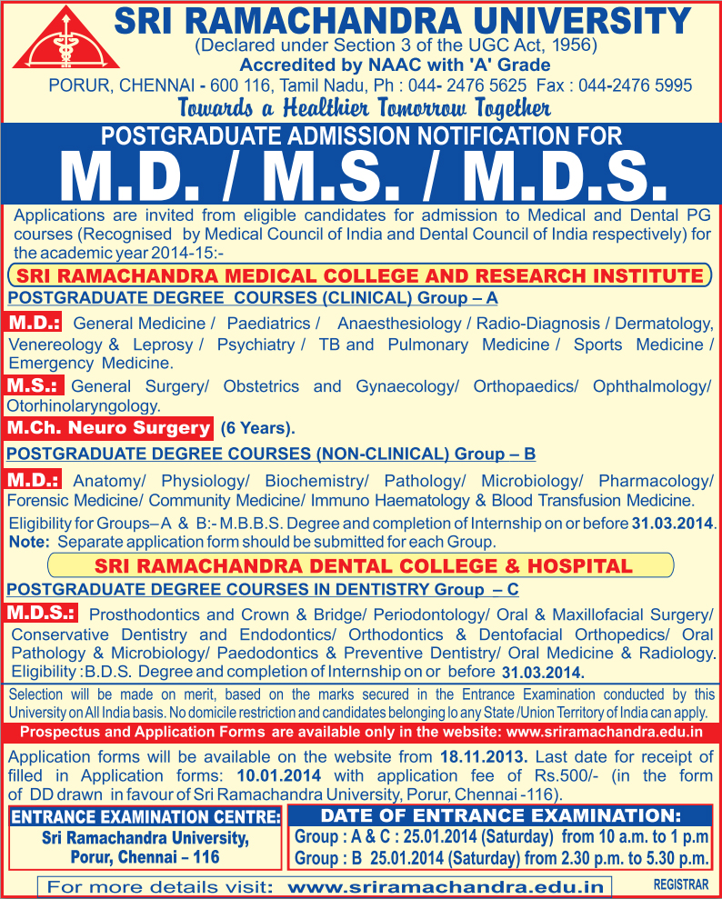SRMU M.D. M.S. M.Ch. NEURO SURGERY (6 Years) MDS DEGREE COURSES