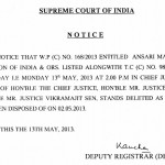 No NEET Hearing on 13th May 2013. Latest Notice from Supreme Court